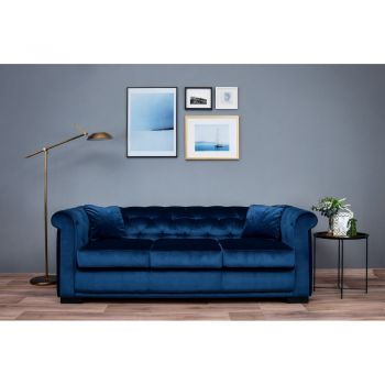 Canapea Extensibila Chesterfield Tisa Catifea 3 Locuri Albastru