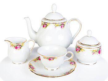 Classic Floare Set Cafea Aurit din Portelan 12 Persoane 27 Piese