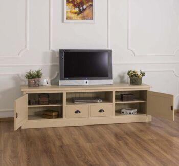 Comoda TV cu 2 sertare, 2 usi, BAS, Lemn masiv, Antichizat, 200x46x56cm