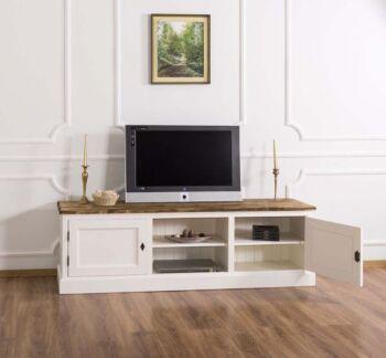 Comoda TV 2 usi, 1 raft, Lemn masiv, Periat adanc, 180x46x56cm