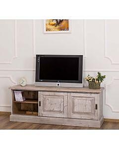 Comoda TV cu 2 usi glisante, Lemn masiv, Periat adanc, 160x46x60cm, Finisaj Periat Adanc