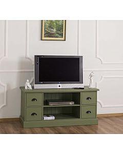 Comoda TV cu 4 sertare, 1 polita deschisa, Lemn masiv, 129x50x60cm, Finisaj Verde