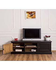Comoda TV 2 usi, 1 raft, Lemn masiv, 2 Straturi de culori Antichizat, 180x46x56cm