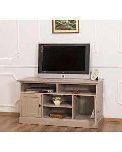 Comoda TV cu 2 usi si 4 spatii deschise, Lemn masiv, 129x50x70cm, Finisaj Bej