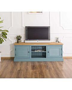 Comoda TV, Colectia Shutter, Lemn masiv, Finisaj ceara, 160x46x56cm, Finisaj Albastru