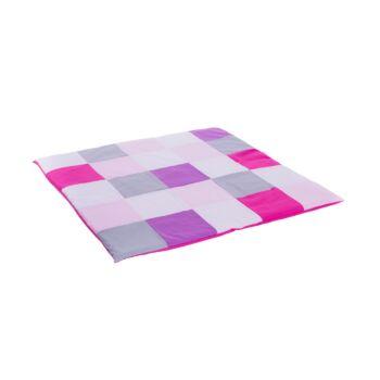 Salteluta de joaca Let's Play, din bumbac si umplutura hipoalergenica, alb cu roz, 100 x 100 cm