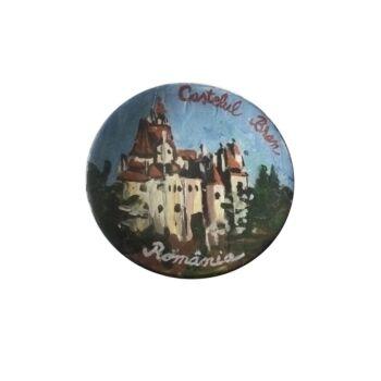 Magnet de frigider din ceramica, pictat manual, 6 cm, Castelul Bran