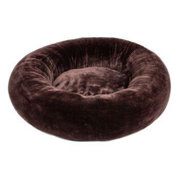 Pat rotund pentru caini si pisici, cu husa detasabila, Buhuhoo, maro, 68 cm diametru