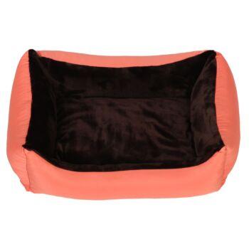 Pat pentru caini si pisici, cu husa detasabila, Buhuhoo, roz somon cu maro, 70 x 55 cm