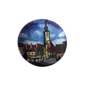Magnet de frigider ,farfurie , pictat manual , 6 cm, Sibiu