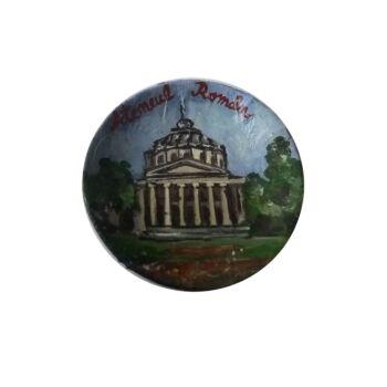 Magnet de frigider pictat manual, din ceramica , in forma de farfurie, Ateneul Roman 6 cm