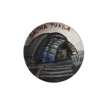 Magnet de frigider din ceramica, pictat manual, 6 cm, Salina Turda